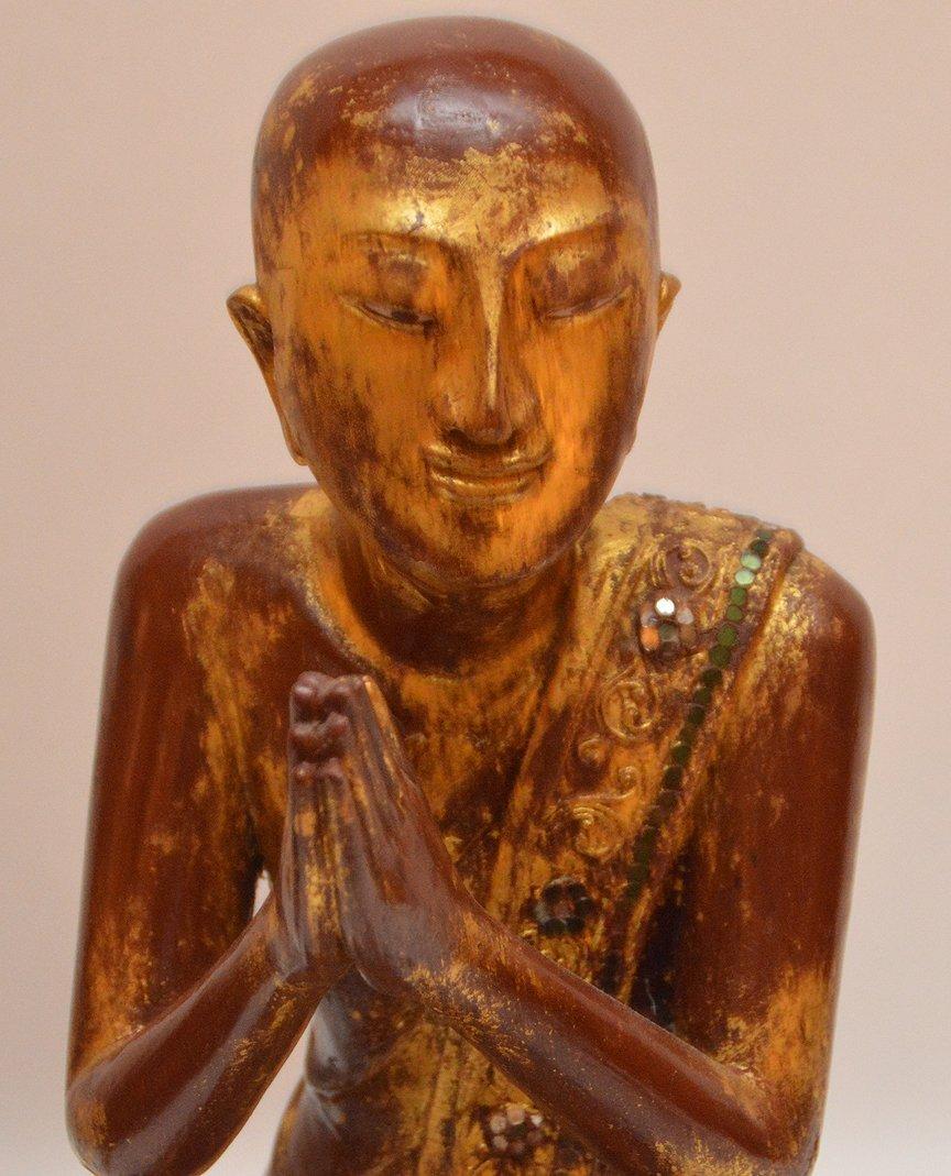 "Pair Carved Gilt Wood Thai Buddha's.  Ht. 13"" - 3"