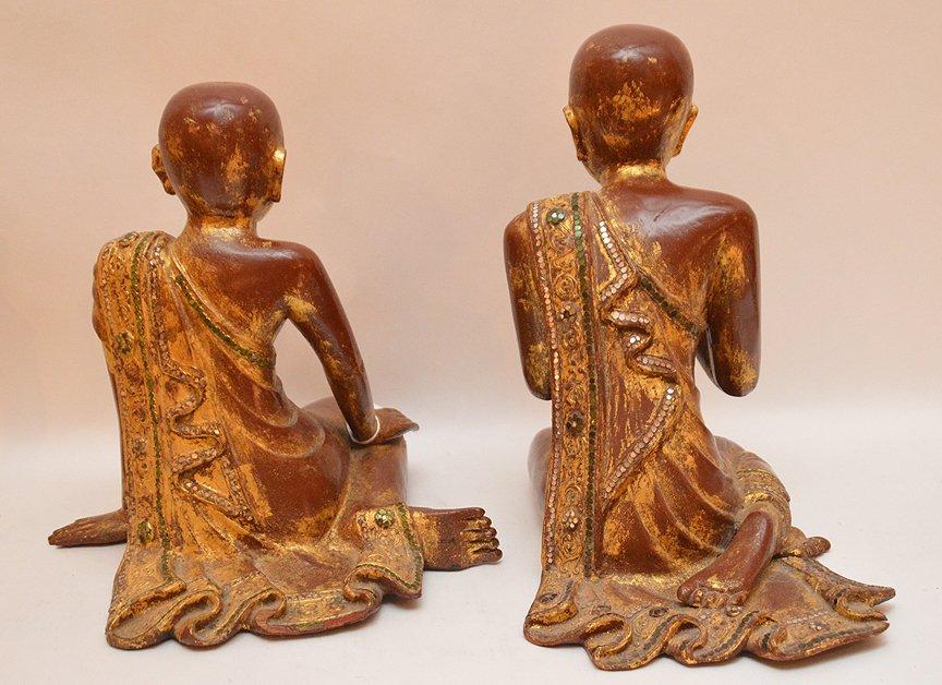 "Pair Carved Gilt Wood Thai Buddha's.  Ht. 13"" - 5"
