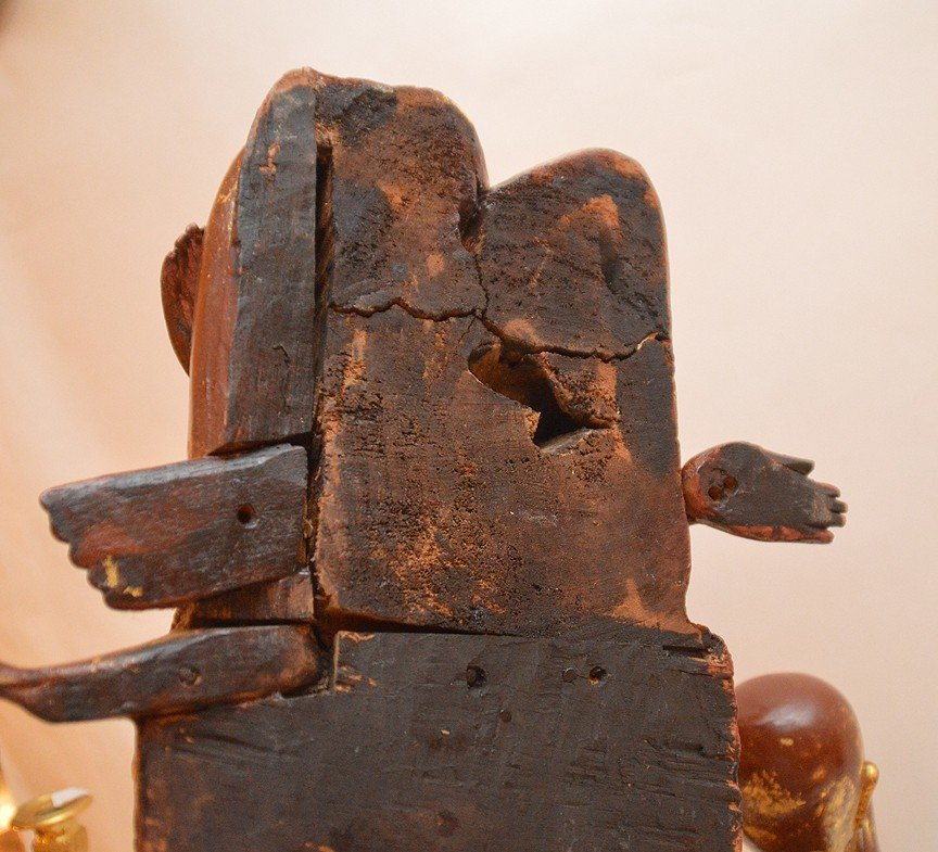 "Pair Carved Gilt Wood Thai Buddha's.  Ht. 13"" - 6"