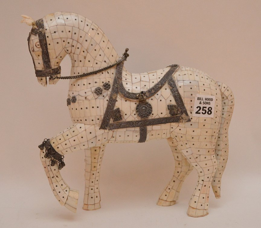 """Bone Tiled Horse with silver decoration. H. 9 1/2"""""""
