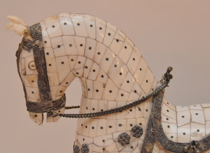 """Bone Tiled Horse with silver decoration. H. 9 1/2"""" - 2"""
