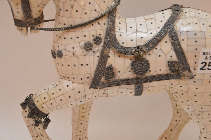 """Bone Tiled Horse with silver decoration. H. 9 1/2"""" - 3"""