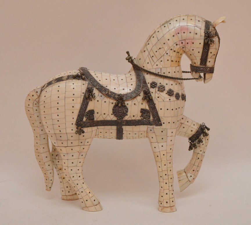 """Bone Tiled Horse with silver decoration. H. 9 1/2"""" - 4"""
