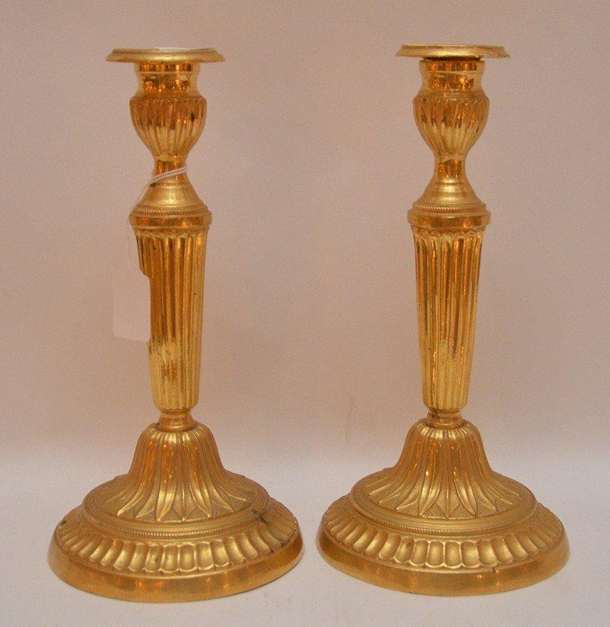 """Pair Continental Gilt Bronze Candlesticks.  Ht. 11"""""""