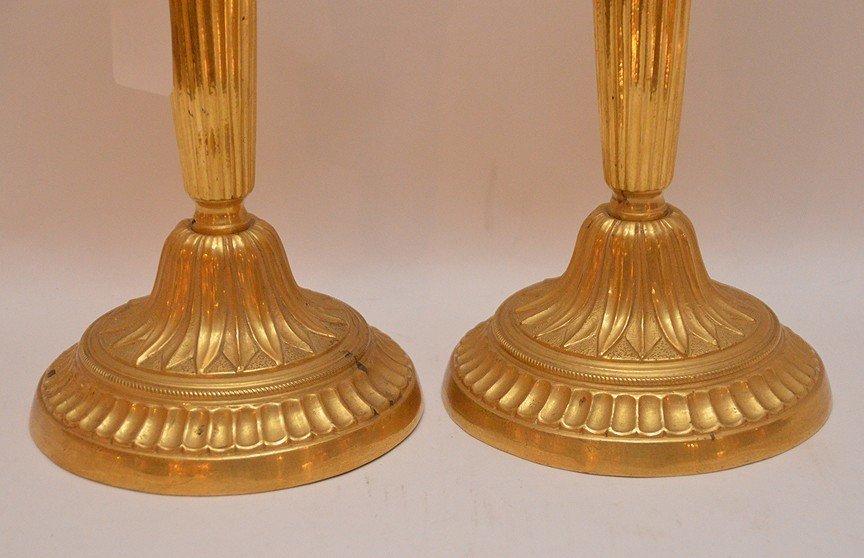 """Pair Continental Gilt Bronze Candlesticks.  Ht. 11"""" - 2"""