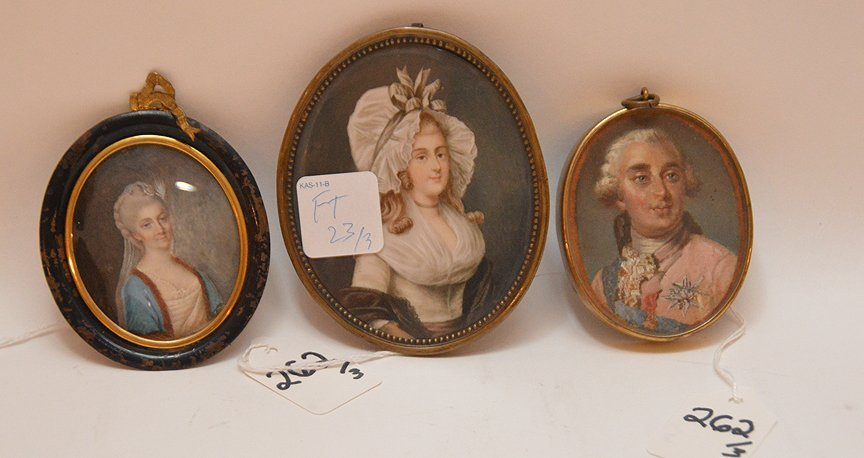 "3 Miniature Portraits.  Largest  titled ""Lady"