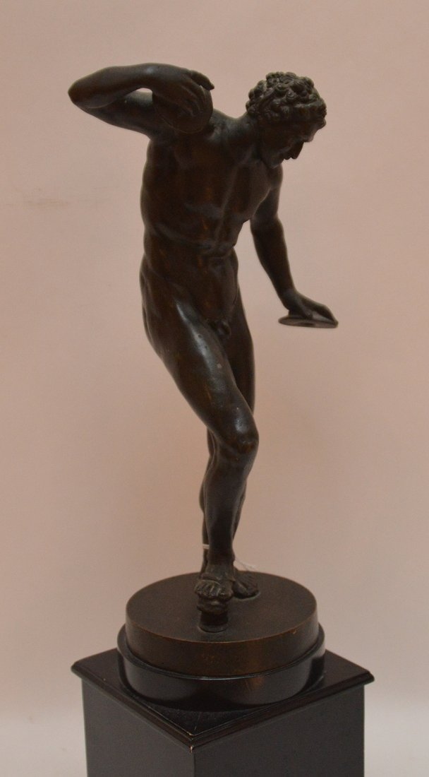 """Patinated Sculpture Disc Thrower.  Ht. 17"""" - 4"""