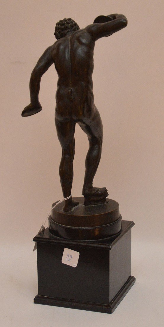 """Patinated Sculpture Disc Thrower.  Ht. 17"""" - 5"""