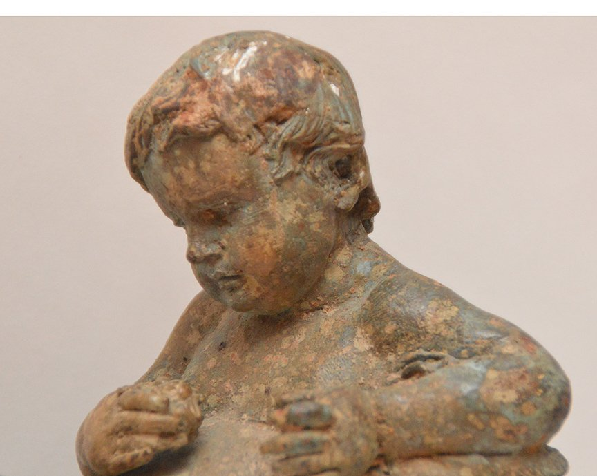 "Metal Sculpture Of A Boy with green patination.  Ht. 9"" - 2"