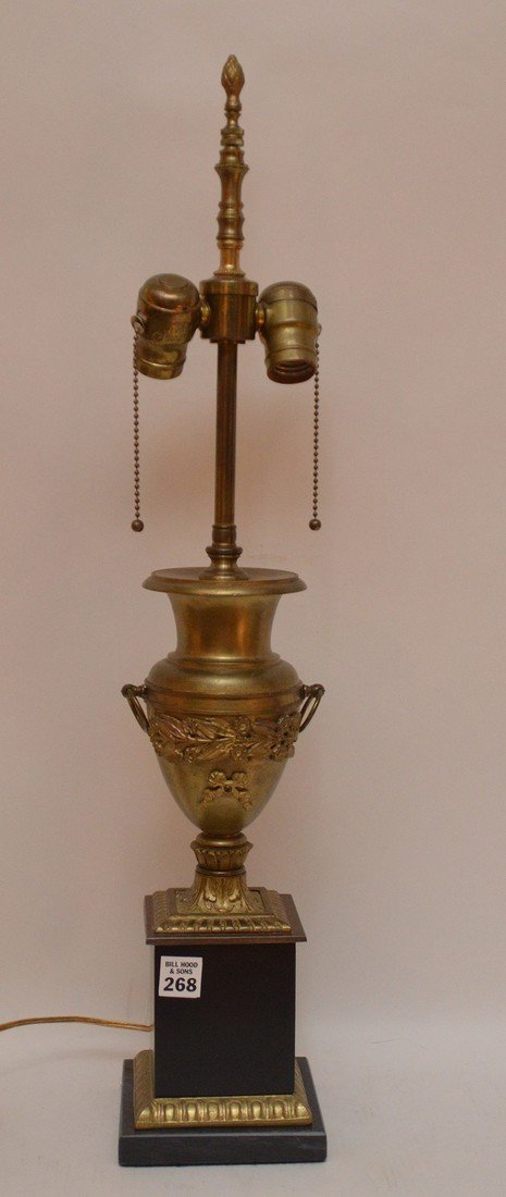 """Bronze Urn Form Lamp with a marble base.  Ht. 20"""" to"""