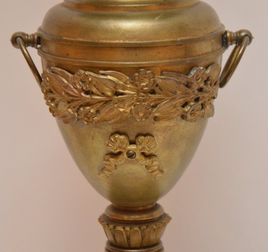 """Bronze Urn Form Lamp with a marble base.  Ht. 20"""" to - 3"""
