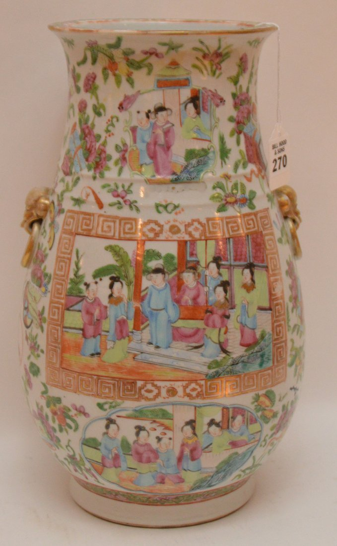 Chinese Rose Mandarin Porcelain Vase centered by an