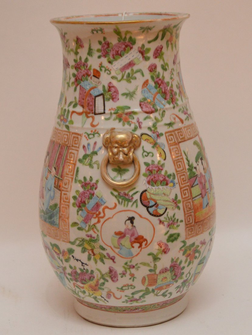 Chinese Rose Mandarin Porcelain Vase centered by an - 5