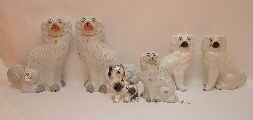 Lot 6 Staffordshire Porcelain Dogs.  Largest pair Ht.