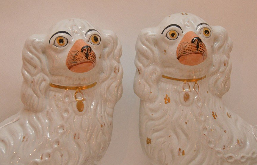 Lot 6 Staffordshire Porcelain Dogs.  Largest pair Ht. - 2