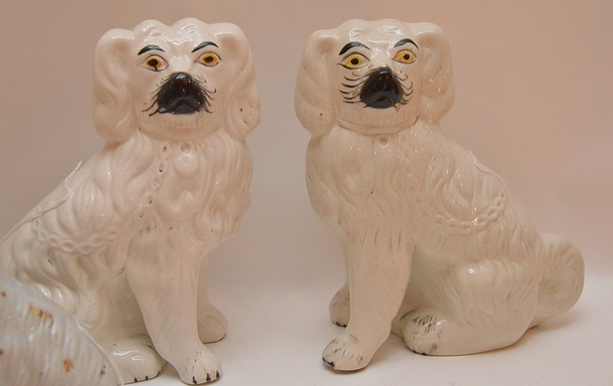 Lot 6 Staffordshire Porcelain Dogs.  Largest pair Ht. - 3