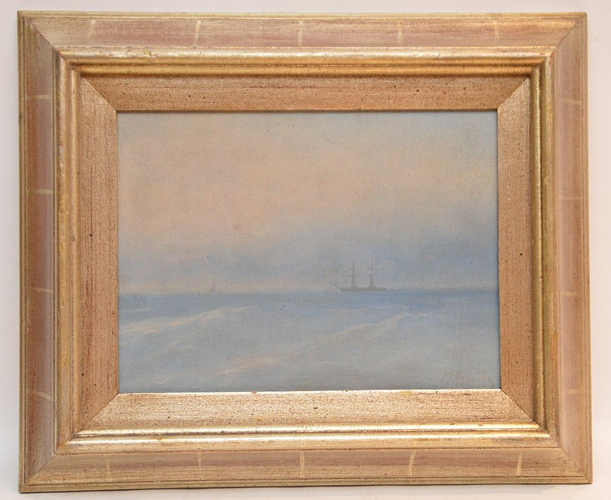 Russian seascape painting attributed to M. Apisov, oil