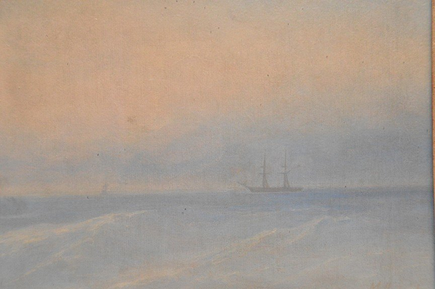 Russian seascape painting attributed to M. Apisov, oil - 2