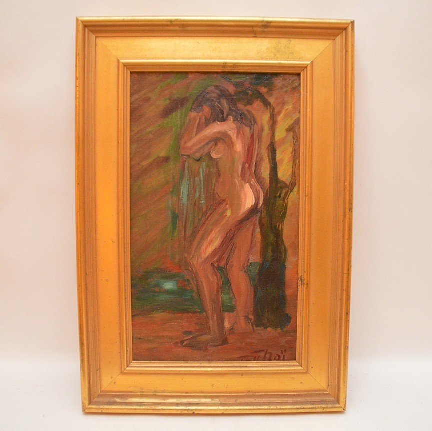 Standing Nude oil on canvas painting, 18-1/4in. x