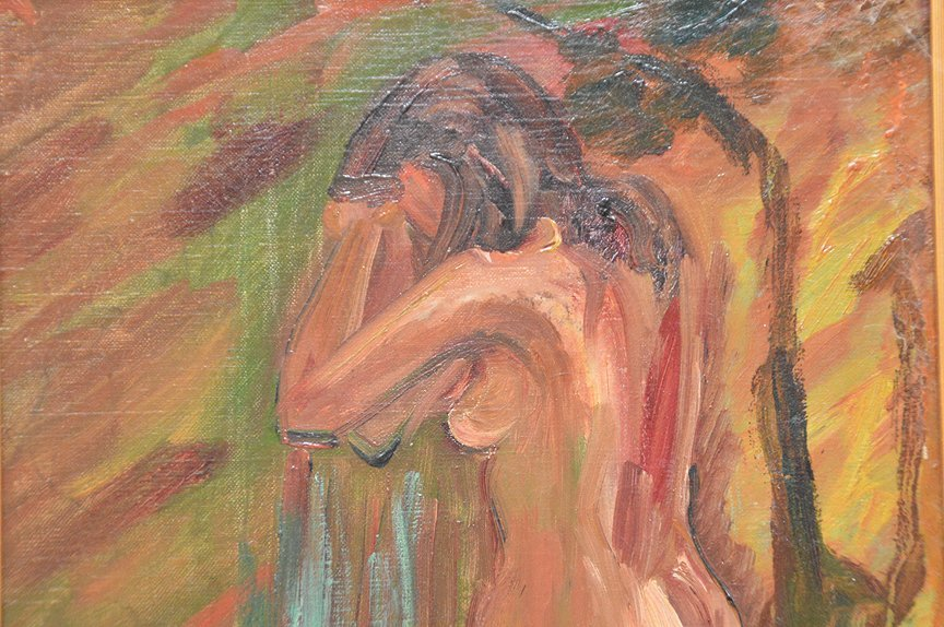 Standing Nude oil on canvas painting, 18-1/4in. x - 2