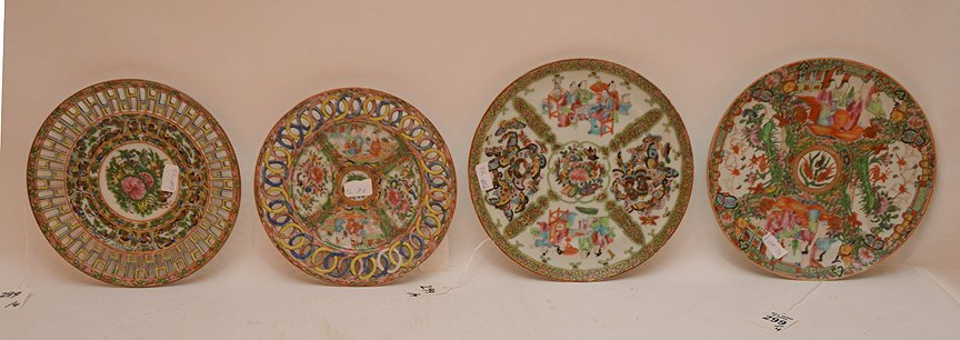 "4 Antique Rose Medallion Plates. Two Plates Dia. 8"","
