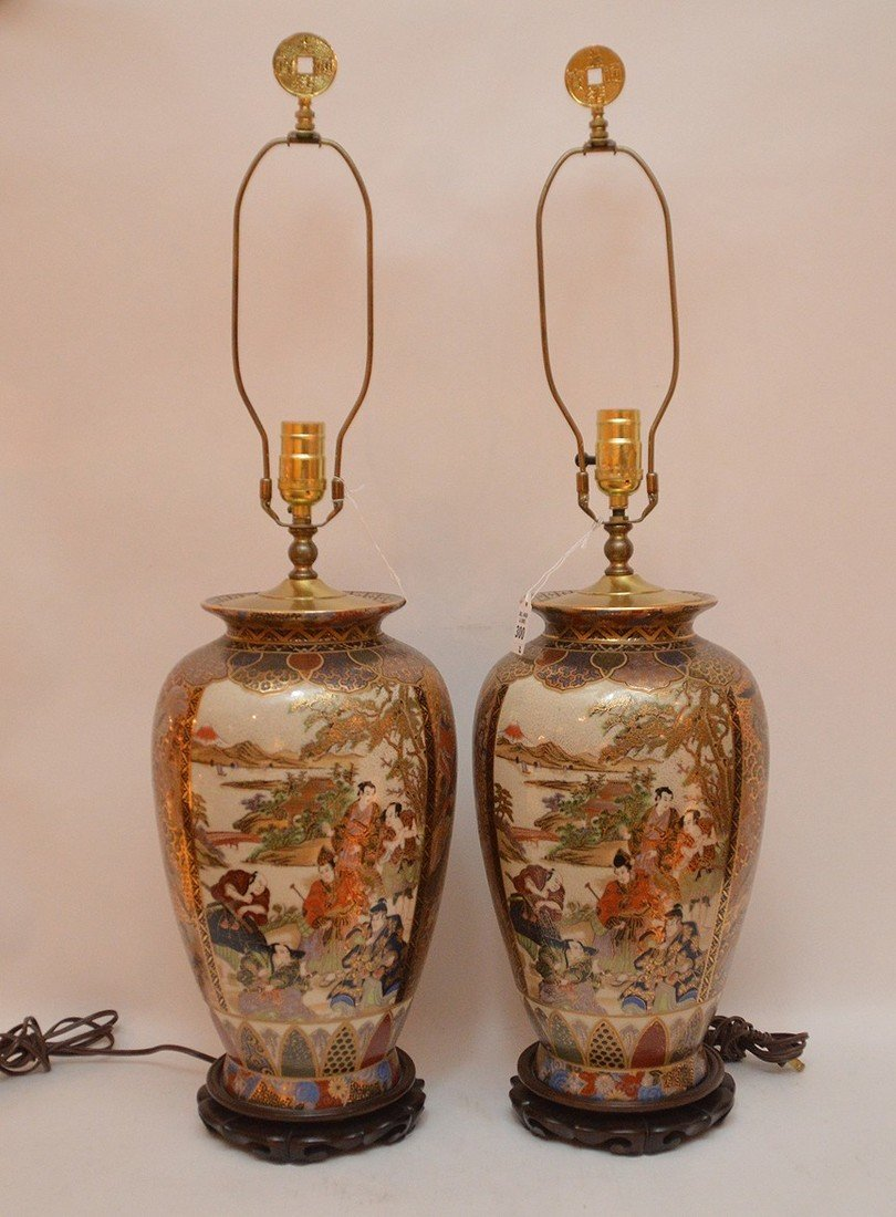 """Pair Japanese Satsuma Decorated Lamps. Ht. 16"""" Overall"""