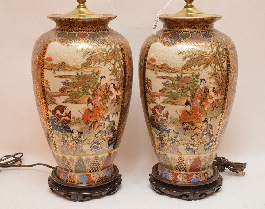 """Pair Japanese Satsuma Decorated Lamps. Ht. 16"""" Overall - 2"""