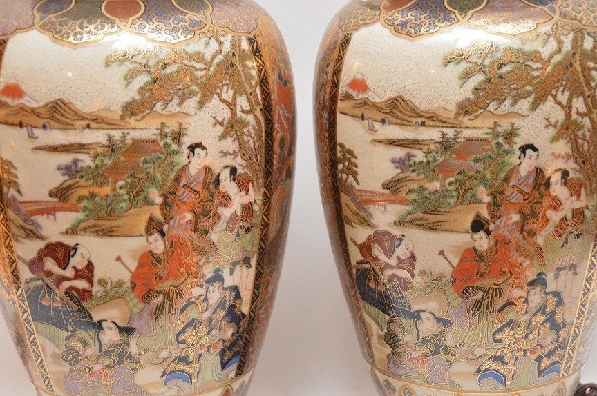 """Pair Japanese Satsuma Decorated Lamps. Ht. 16"""" Overall - 3"""