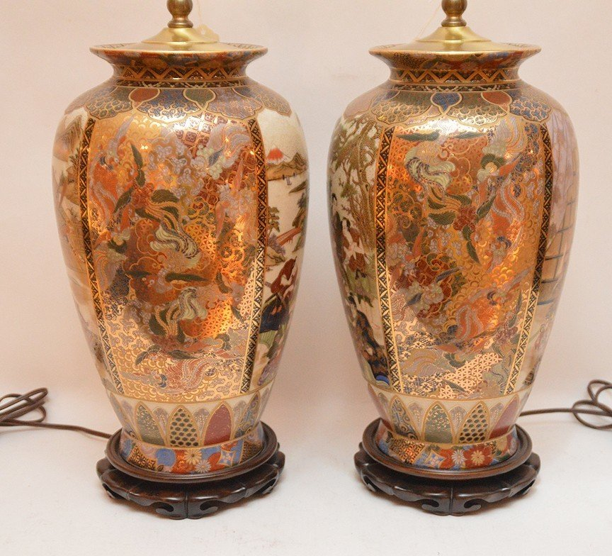 """Pair Japanese Satsuma Decorated Lamps. Ht. 16"""" Overall - 4"""