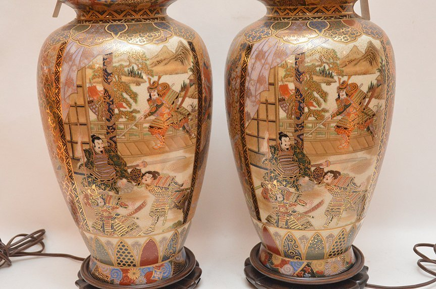 """Pair Japanese Satsuma Decorated Lamps. Ht. 16"""" Overall - 5"""