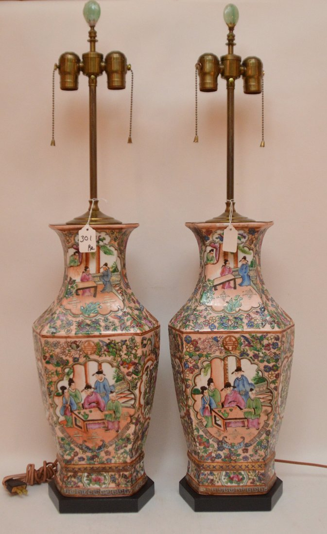 Pair Chinese Porcelain Lamps With Rose Medallion