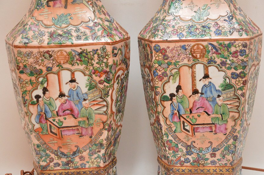Pair Chinese Porcelain Lamps With Rose Medallion - 3