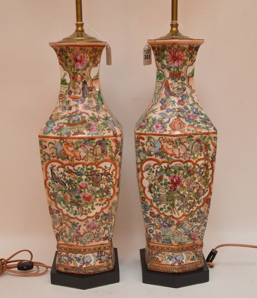 Pair Chinese Porcelain Lamps With Rose Medallion - 4