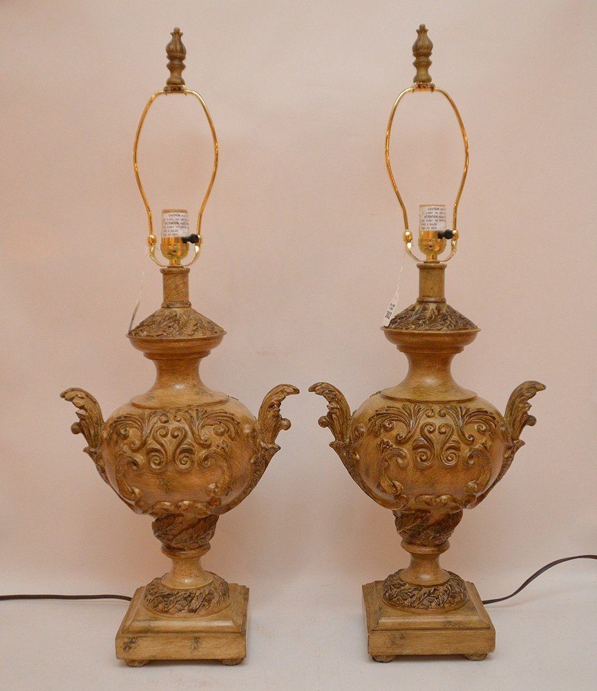 """Pair Italian Urn Form Lamps. Ht. 20"""" Overall Ht. 31"""""""