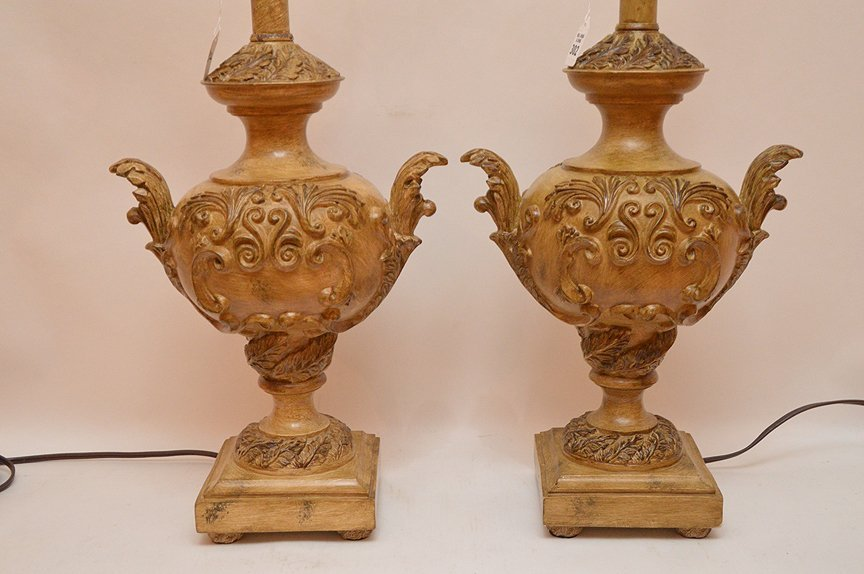 """Pair Italian Urn Form Lamps. Ht. 20"""" Overall Ht. 31"""" - 2"""