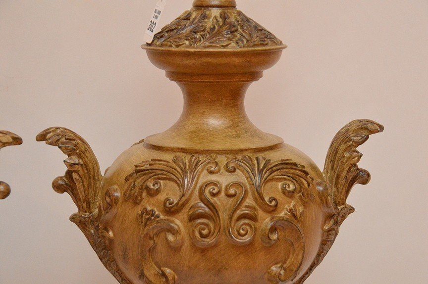 """Pair Italian Urn Form Lamps. Ht. 20"""" Overall Ht. 31"""" - 3"""