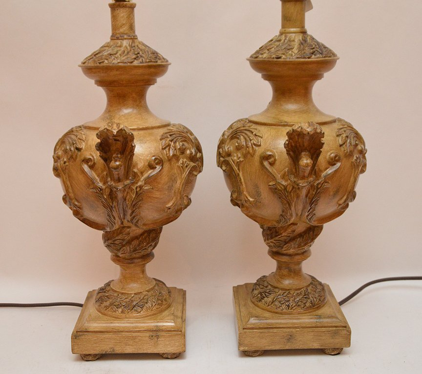 """Pair Italian Urn Form Lamps. Ht. 20"""" Overall Ht. 31"""" - 4"""