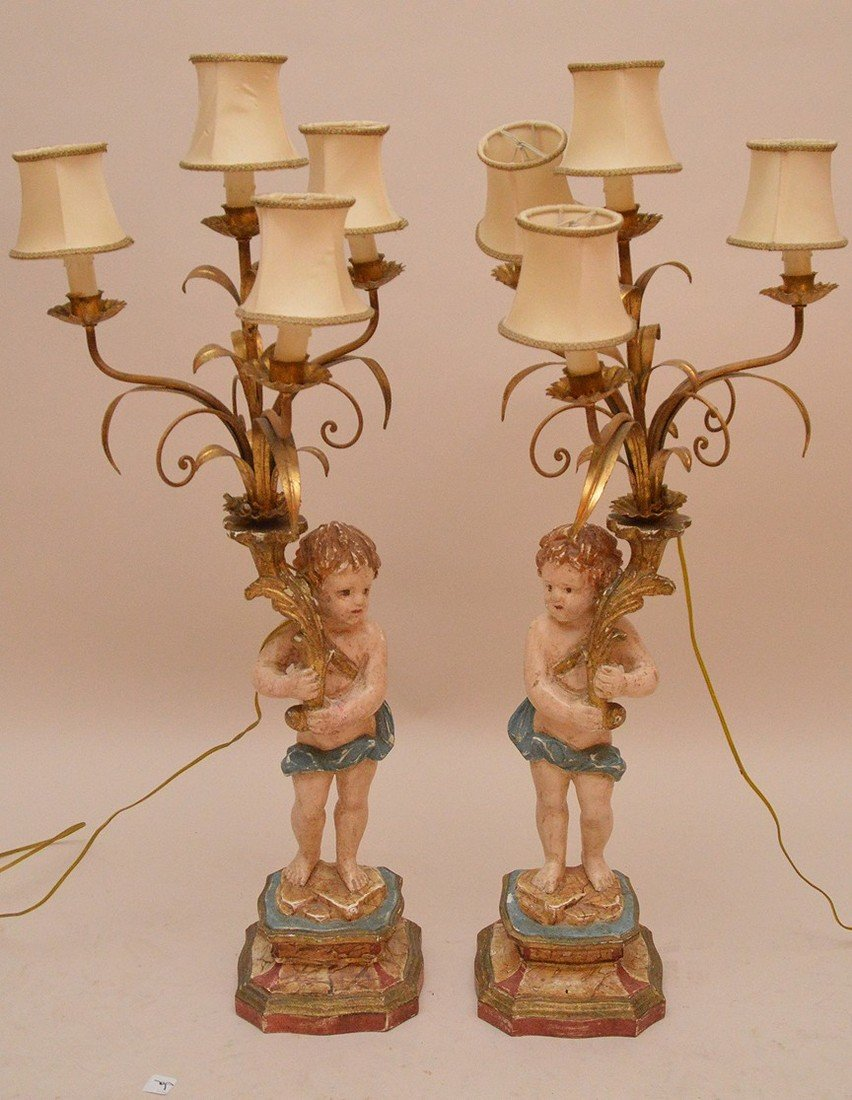Craved figural painted lamps with 4 lights 35 inches