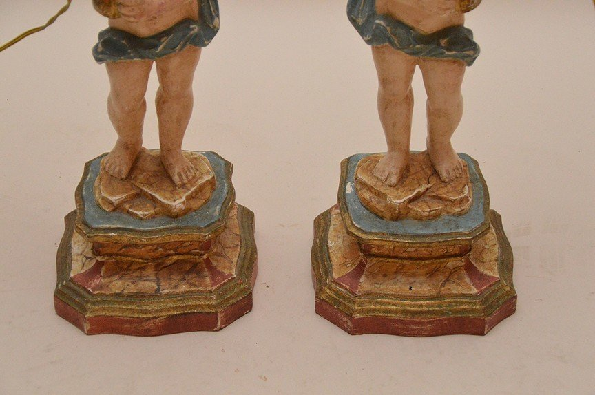 Craved figural painted lamps with 4 lights 35 inches - 4