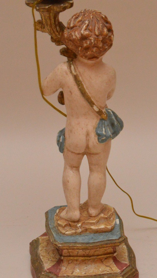 Craved figural painted lamps with 4 lights 35 inches - 6