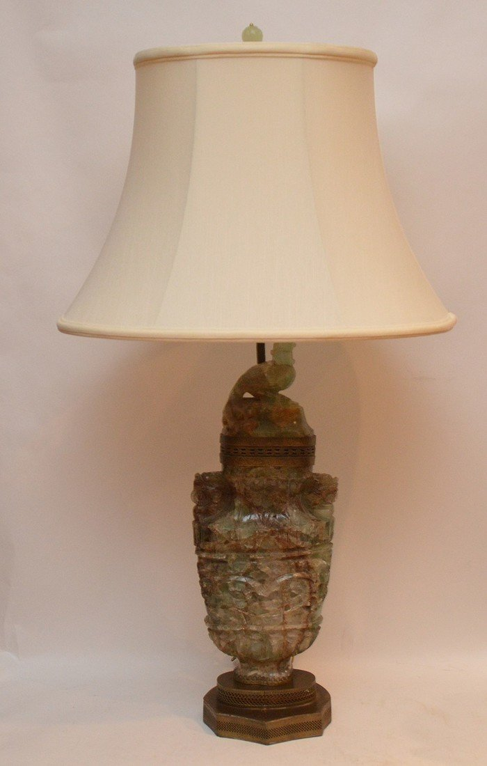 jade/ quartz urn style lamp 30 inches high