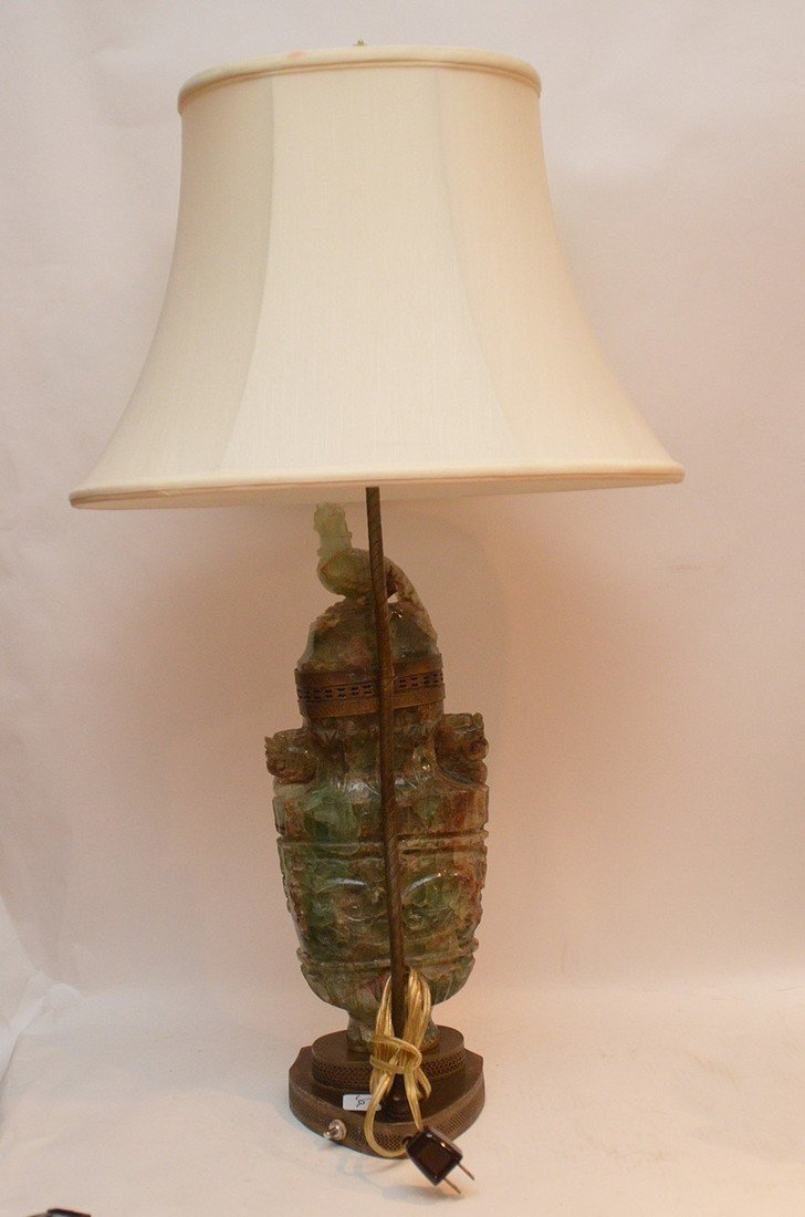 jade/ quartz urn style lamp 30 inches high - 5