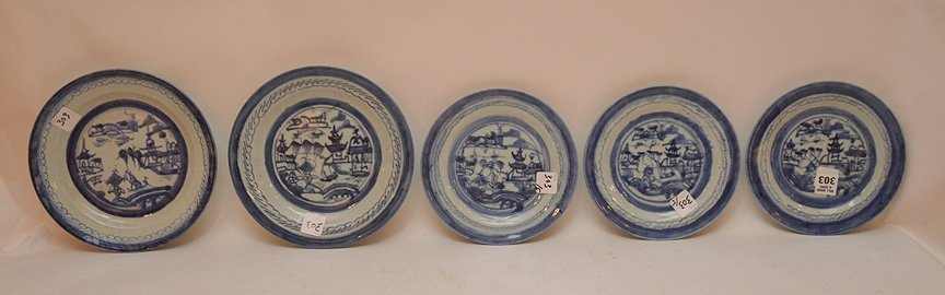 5 Assorted 19th Century Canton Porcelain Plates.