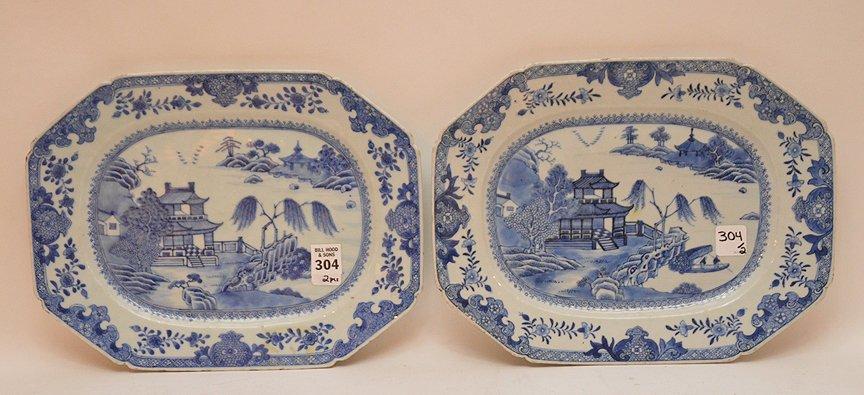 """Pair 19th Century Canton Porcelain Platters each 10"""" x"""