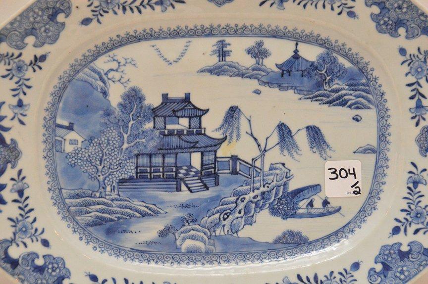 """Pair 19th Century Canton Porcelain Platters each 10"""" x - 2"""