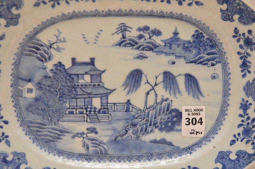 """Pair 19th Century Canton Porcelain Platters each 10"""" x - 3"""