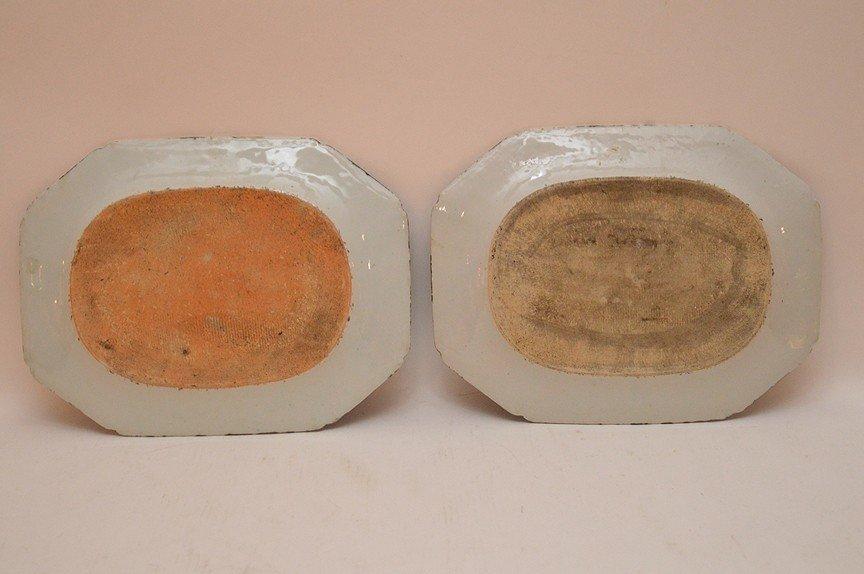 """Pair 19th Century Canton Porcelain Platters each 10"""" x - 4"""