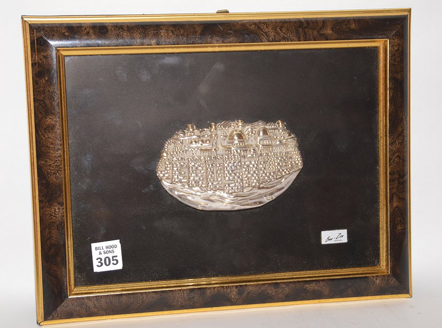 Ben Zion Sterling Silver Sculpture in relief mounted in