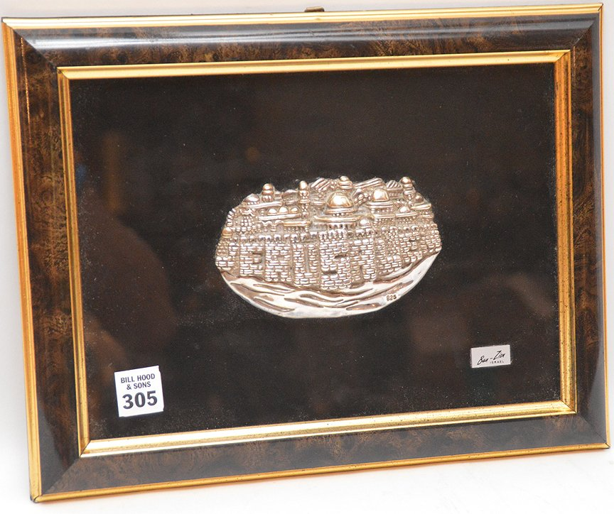 Ben Zion Sterling Silver Sculpture in relief mounted in - 2