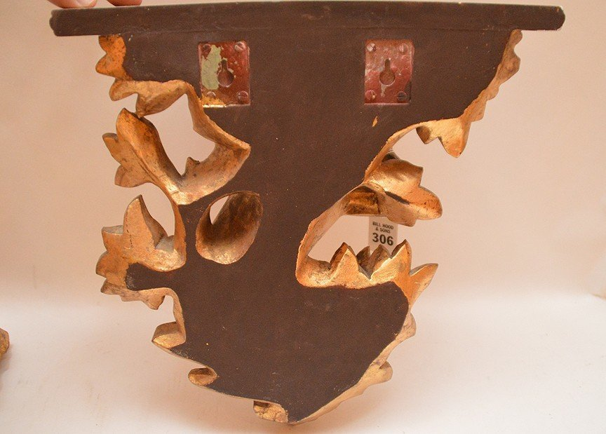 "Pair Composition Gilt Figural Money Brackets.  14"" x 12 - 4"